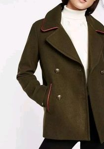 EXPRESS olive green military peacoat, red piping